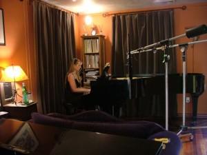 Sue Green recording piano tracks