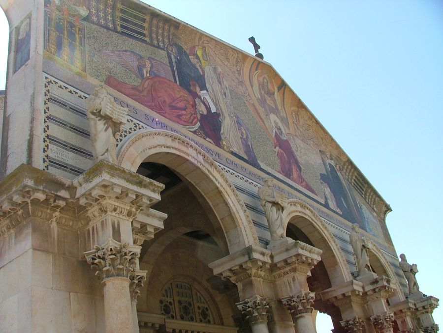The beautiful church next to the Garden of Gethsemane, with alabaster windows.